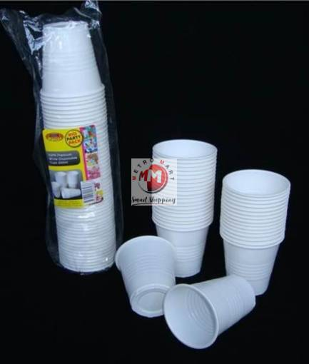 Picture of White Disposable Plastic Cups-40PK